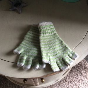 Wool green and white striped fingerless gloves